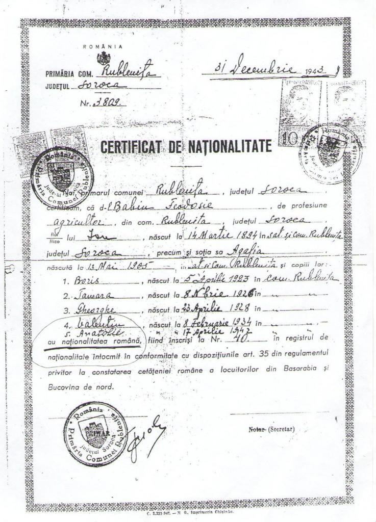 Certificat de nationalitate